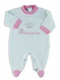 Picture baby footie interlock little cream princes. Colour pink, size 6-9 months