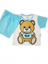 Picture baby footie cotton outfit jersey bear toy. Colour turquoise, size 3-6 months