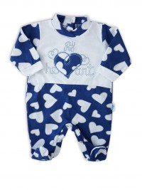Image cotton baby footie jersey my heart. Colour blue, size 0-1 month