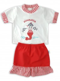 Baby footie cotton jersey mermaid outfit image. Colour red, size 3-6 months