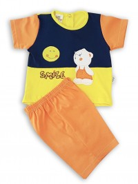 Picture baby footie outfit cotton jersey sun smile. Colour orange, size 0-1 month