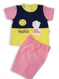 Picture baby footie outfit cotton jersey sun smile. Colour coral pink, size 0-1 month