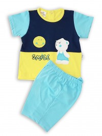 Picture baby footie outfit cotton jersey sun smile. Colour turquoise, size 6-9 months