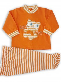 Image baby footie outfit in cotton love. Colour orange, size 3-6 months