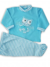 Image baby footie outfit cotton love. Colour turquoise, size 3-6 months