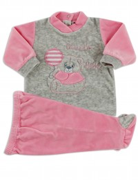 Baby footie clinical outfit in baby chenille.. Colour coral pink, size 0-1 month