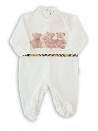 Image cotton baby footie jersey teddy bears plush. Colour creamy white, size 0-1 month