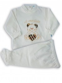 baby footie outfit cotton my baby. Colour creamy white, size 1-3 months