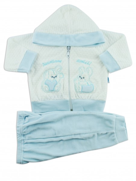 Picture hooded jumpsuit we become friends. Colour light blue, size 1-3 months Light blue Size 1-3 months