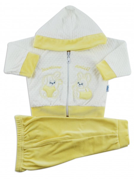 Picture hooded jumpsuit we become friends. Colour yellow, size 6-9 months Yellow Size 6-9 months