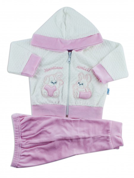 Picture hooded jumpsuit we become friends. Colour pink, size 6-9 months Pink Size 6-9 months