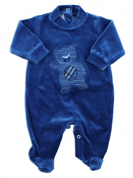 Picture baby footie chenille baby bear hello. Colour blue, size 3-6 months Blue Size 3-6 months