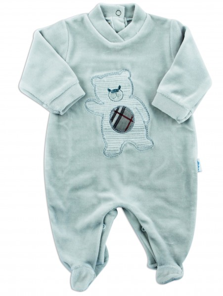 Picture baby footie chenille baby bear hello. Colour grey, size 0-1 month Grey Size 0-1 month