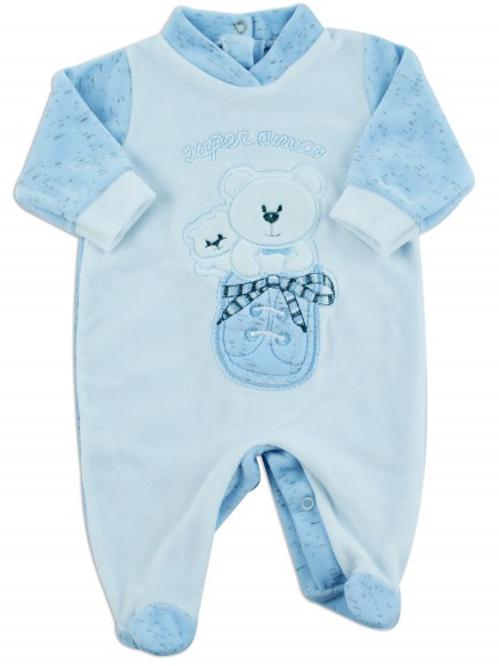 Picture baby footie chenille super friend sneakers. Colour light blue, size 6-9 months Light blue Size 6-9 months