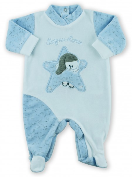 Picture baby footie chenille baby bear dreams gold. Colour light blue, size 3-6 months Light blue Size 3-6 months