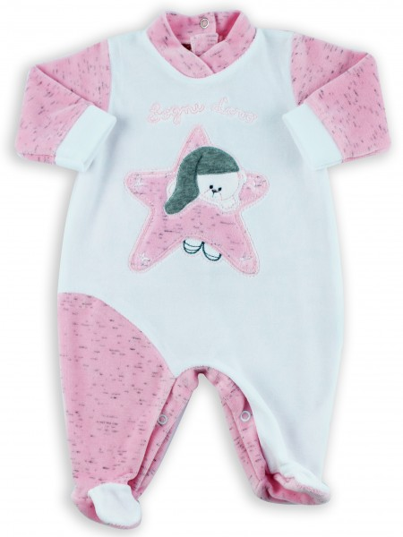Picture baby footie chenille baby bear dreams gold. Colour pink, size 1-3 months Pink Size 1-3 months