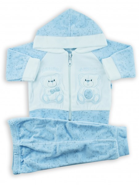 Picture cute friends hooded jumpsuit. Colour light blue, size 1-3 months Light blue Size 1-3 months