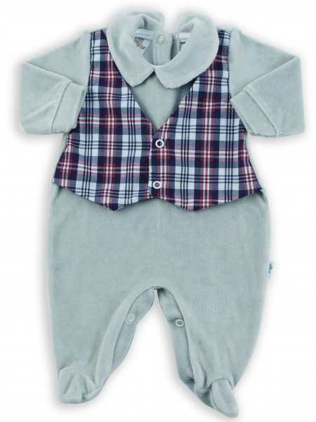 Image baby footie chenille vest Scottish fabric. Colour grey, size 3-6 months Grey Size 3-6 months