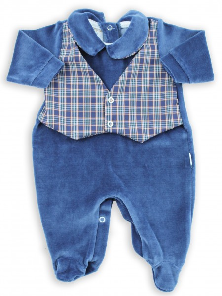 baby footie chenille scottish fabric waistcoat. Colour blue, size 00 Blue Size 00