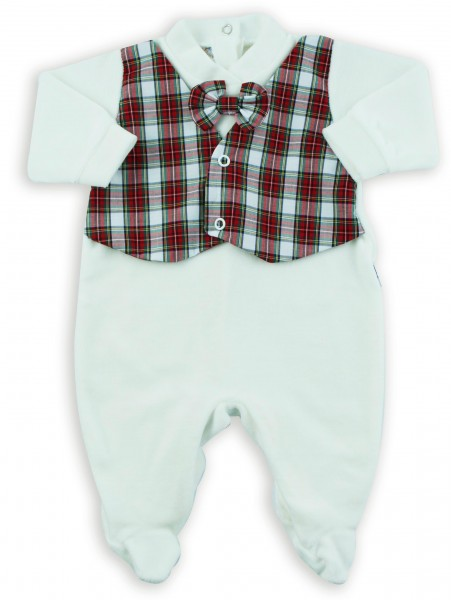 Picture baby footie chenille vest and bow tie fabric. Colour creamy white, size 0-1 month Creamy white Size 0-1 month