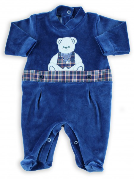 Picture baby footie chenille baby bear tuxedo. Colour blue, size 1-3 months
