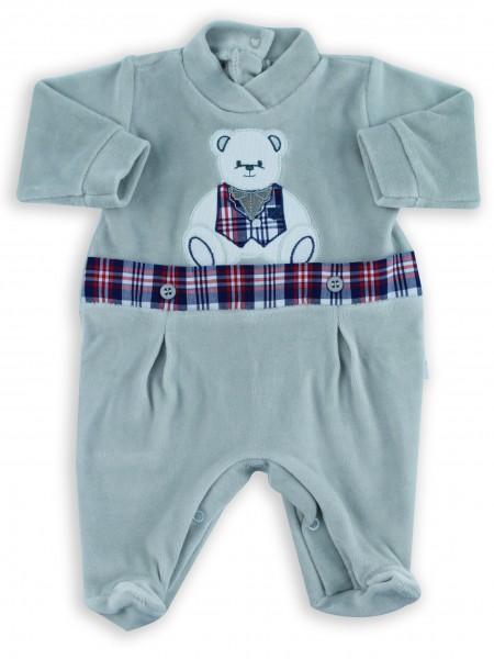 Picture baby footie chenille baby bear tuxedo. Colour grey, size 0-1 month Grey Size 0-1 month
