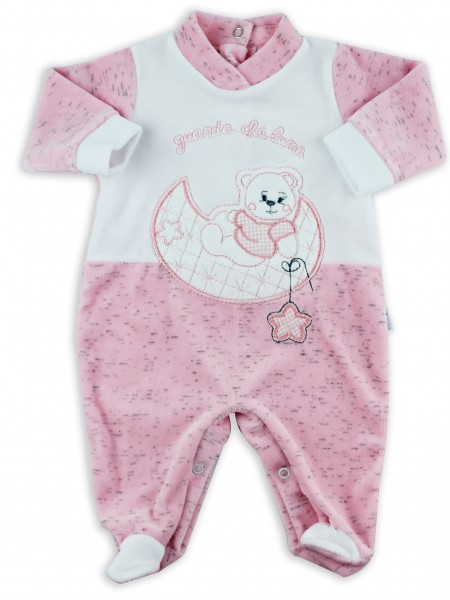 Picture baby footie chenille baby bear looking at that moon. Colour pink, size 3-6 months Pink Size 3-6 months