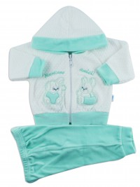 Picture hooded jumpsuit we become friends. Colour green, size 3-6 months