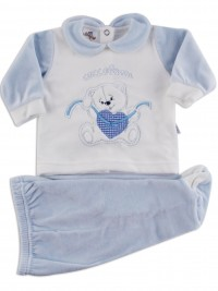 Picture baby footie outfit chenille pamper me. Colour light blue, size 1-3 months