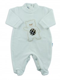 Picture baby footie chenille baby bear hello. Colour creamy white, size 0-1 month