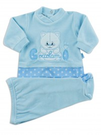 Picture baby footie chenille kitten cuddles me. Colour light blue, size 6-9 months