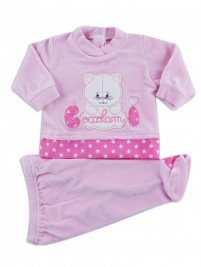 Picture baby footie chenille kitten cuddles me. Colour pink, size 0-1 month