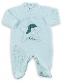 Picture baby footie chenille baby bear dreams gold. Colour white, size 6-9 months