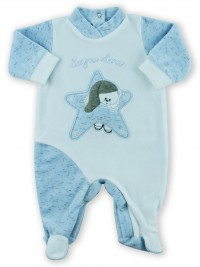 Picture baby footie chenille baby bear dreams gold. Colour light blue, size 0-1 month