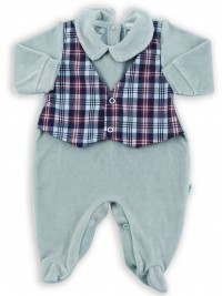 Image baby footie chenille vest Scottish fabric. Colour grey, size 1-3 months