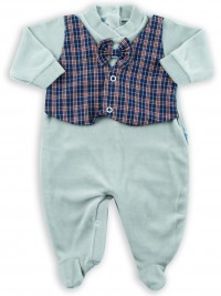baby footie chenille vest and fabric bow tie. Colour grey, size first days