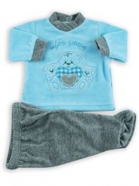 Picture baby footie outfit in chenille for you. Colour turquoise, size 1-3 months