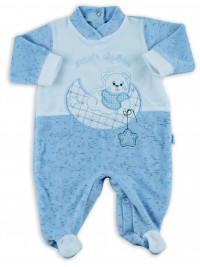Picture baby footie chenille baby bear looking at that moon. Colour light blue, size 0-1 month