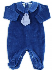 Picture baby footie chenille necktie fabric. Colour blue, size 3-6 months