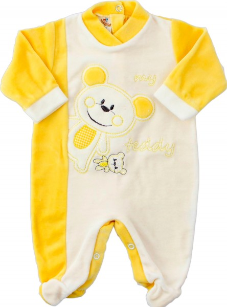 baby footie chenille bear teddy bear. Colour yellow, size first days