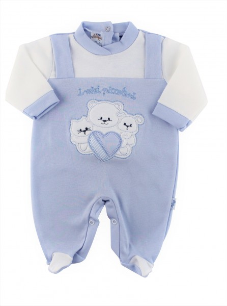 cotton baby footie interlock my babies. Colour light blue, size 0-1 month Light blue Size 0-1 month
