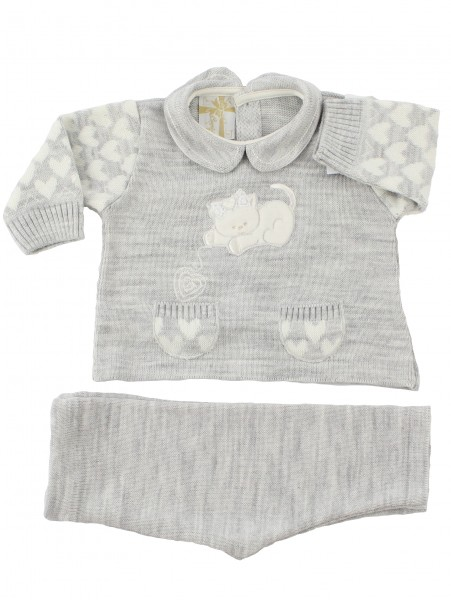 baby outfit mixed wool kitten with ball. Colour grey, size 1-3 months Grey Size 1-3 months