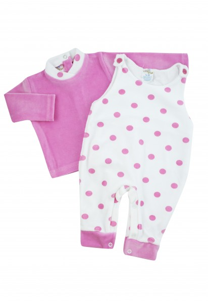 Baby footie with polka dot overalls. Colour fuchsia, size 0-3 months