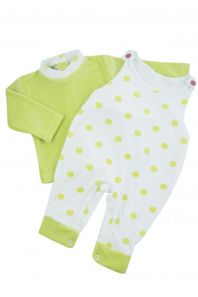 Baby footie with polka dot overalls. Colour pistacchio green, size 6-9 months