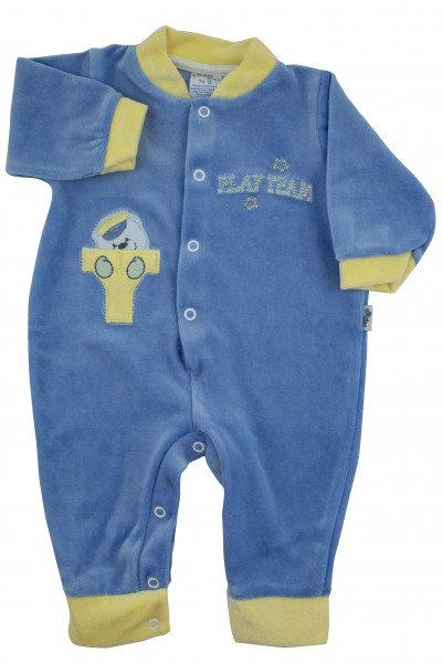 Baby footie without feet with little buttons with pressure on the front. Colour light blue, size 00 Light blue Size 00
