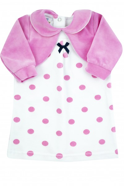 newborn baby polka dot chenille dress with solid-coloured shoulder covers. Colour fuchsia, size 0-3 months Fuchsia Size 0-3 months