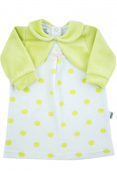 polka dot chenille newborn dress with solid-colored shawl covers. Colour pistacchio green, size 1-3 months Pistacchio green Size 1-3 months