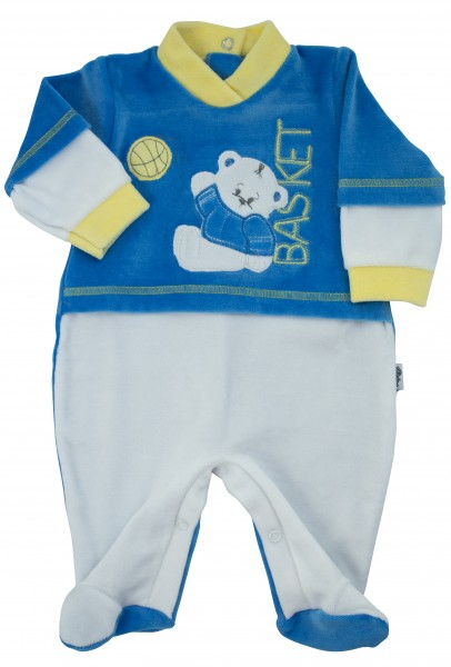 baby footie chenille baby bear playing basketball. Colour royal blue, size first days Royal blue Size first days