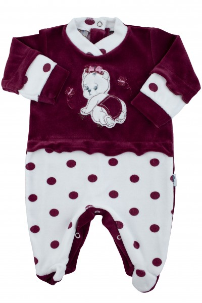 baby footie chenille teddy bear butterfly polka dots. Colour black cherry, size 3-6 months Black cherry Size 3-6 months