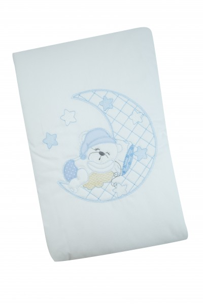baby bear and moon cradle or pram cover. Colour light blue, one size Light blue One size